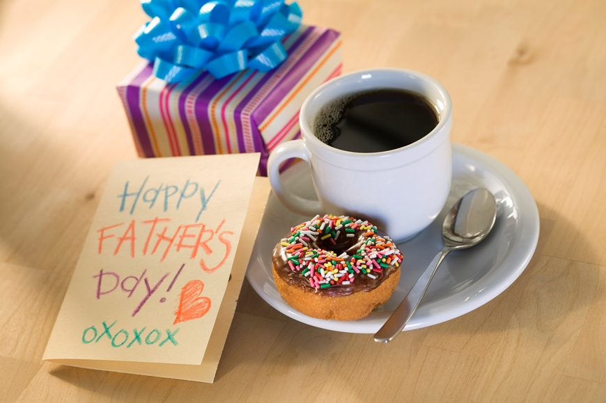 Donut and coffee with Father's Day card and present