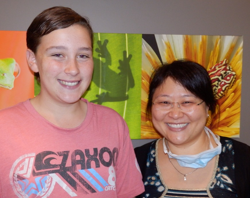 Dr Anna Chang and patient smiling