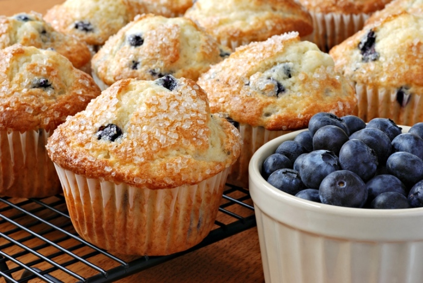 Blueberry muffins on tray