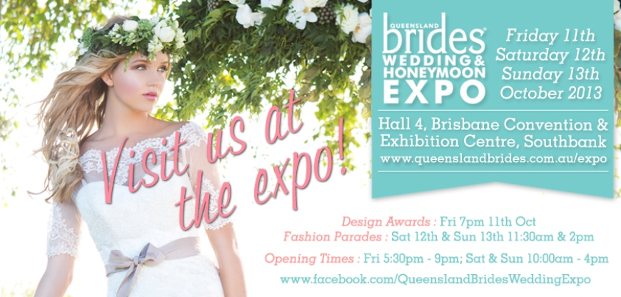 visit us as the brides wedding & honeymoon expo banner
