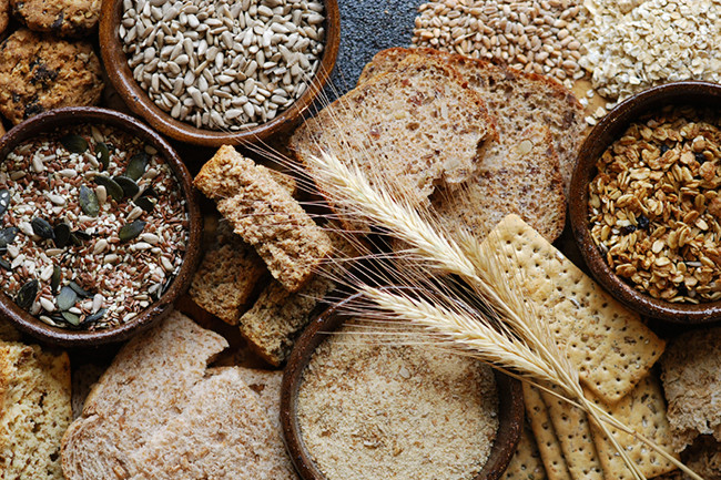 Top view of wheat based products on a surface